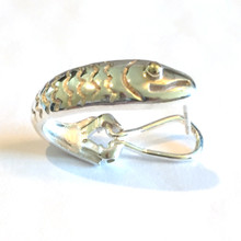 Fish Omega Style Sterling Silver Earrings