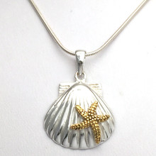 Sterling Silver Scallop Shell and Textured Gold Plate Starfish Necklace