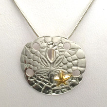 Sterling Silver Sand Dollar and Gold Plate Starfish Necklace