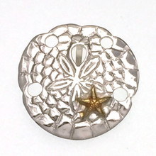 Sterling Silver Sand Dollar and Gold Plate Starfish Pendant