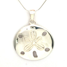 Sterling Silver Large Sand Dollar Necklace 18""