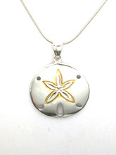 """Sterling Silver Sand Dollar Necklace with Gold Plate 16"""""""