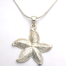 Sterling Silver Large Textured Starfish Necklace 18""