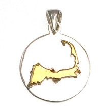 Sterling Silver and Gold Plate Cape Cod Disk Pendant