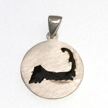 Sterling Silver and Black Enamel Cape Cod Disk Pendant