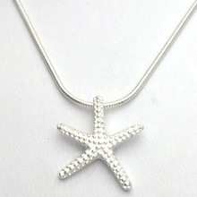 """Sterling Silver Stubby Starfish Necklace 16"""""""