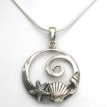 "Sterling Silver Sea Life Necklace 16"" Only"