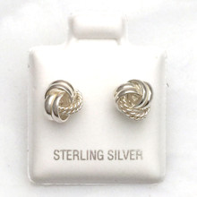 Sterling Silver 1/2 Smooth 1/2 Rope Love Knot Earrings