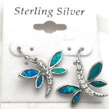 Sterling Silver and Opal Dragonfly Earrings