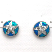 Sterling Silver and Opal Starfish Post Earrings