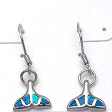 Sterling Silver and Opal Whale Tail Dangle Earrings