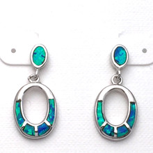 Sterling Silver and Opal Open Oval Dangle