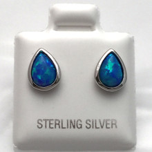 Sterling Silver and Opal Tear Drop Post Earrings