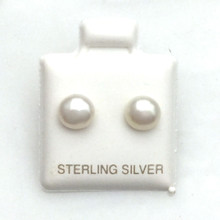 Sterling Silver and Pearl Post Earrings 6MM