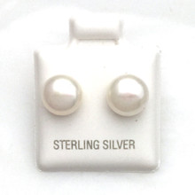 Sterling Silver and Pearl Post Earrings 8MM
