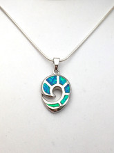 "Sterling Silver and Opal Spiral Necklace 18"" Only"