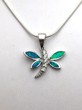 Sterling Silver and Opal Dragonfly Necklace 18""