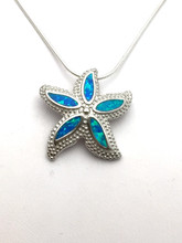 Sterling Silver and Opal Textured Starfish Necklace 18""