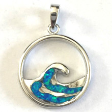 Sterling Silver and Opal Wave Pendant #1A