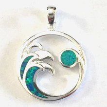 Sterling Silver and Opal Wave and Moon Necklace 18""