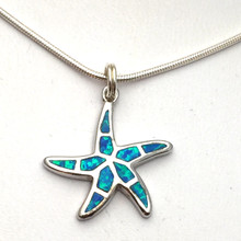Sterling Silver and Opal Starfish Necklace 16""