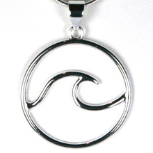 Classic Sterling Silver Wave Pendant No Necklace
