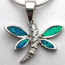Sterling Silver and Opal Dragonfly Pendant No Necklace