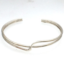 Sterling Silver Wave 2 Bangle Size Medium
