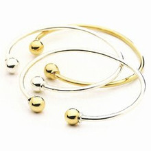 Sterling Silver and 14K Gold Ball Open Cuff Cape Cod Bracelet.