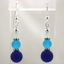 Blue Sea Glass Drop Earrings
