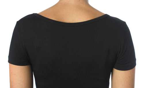 back view of V-neck Black Short Sleeve