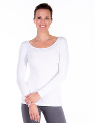 White Modest Scoop T-Shirt, Undershirt or Layering Top, Long Sleeve