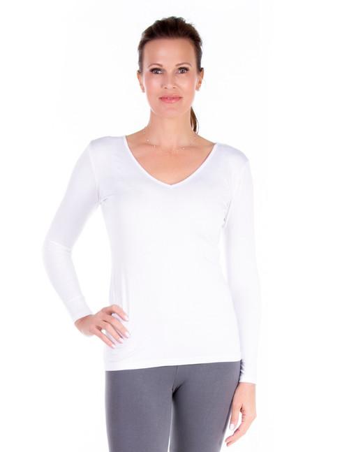 White V-Neck Long Sleeve
