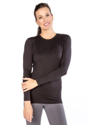 Black Crew Neck Long Sleeve Top