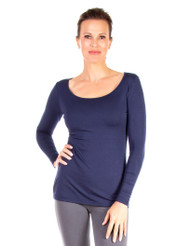 Navy Modest Scoop, T-Shirt or Underpinning, Long Sleeve