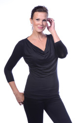 Droop Neck, 3/4 Sleeve, Black