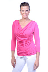 Fuchsia Purple Droop Neck 3/4 Sleeve. Also available in Black, Navy, White, Chili Pepper Red and Slate Grey.