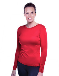Chili Pepper Red Crew Neck Long Sleeve Top