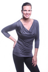 Slate Gray Droop Neck 3/4th Sleeve Top