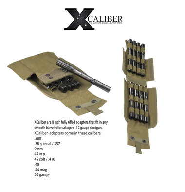 X Caliber is the most versatile  Gauge Adapter system in the world. It allows you to shoot 10 different caliber rounds from one shooting platform: a single-shot 12 gauge shotgun. Each X Caliber adapter is made from 7  inches of Blued Stainless Steel. Each adapter is also rifled to increase accuracy.