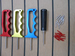 Anadized handles come in Red, Yellow, Blue. Plastic handle available in black.