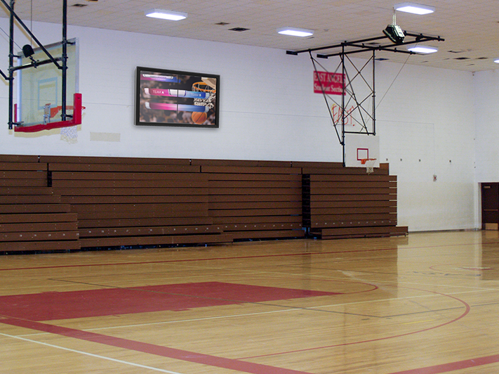 TVs for School Gyms: 4 Uses Plus Digital Display Enclosure Solutions Video Wall protection for school gym The TV Shield PRO Lite