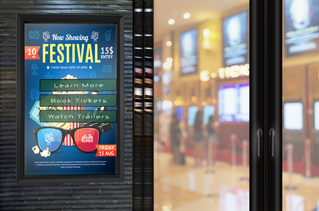 Outdoor TV Enclosures & Digital Signage for Movie Theaters - Touch Screen, Interactive, Portrait and Landscape, Weatherproof, Secure