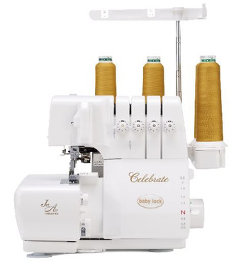 Finished another project? Time to celebrate! The easy-to-use Baby Lock Celebrate serger includes adjustable manual tensions, allowing for perfect stitches on any type of fabric. Jet-Air Threading™ threads your machine with the touch of a lever. Plus, Celebrate's presser foot features a 6mm height that makes serging on thicker fabrics a breeze!  The Baby Lock Celebrate serger's top features include:  Easy push lever looper threading Built-in needle threader Easy tension system 4/3/2 thread serging Full featured differential feed Bright LED lighting Adjustable presser foot height up to 6MM