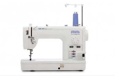 If you want to make something, there's no reason you can't accomplish it with this machine! The Baby Lock Accomplish sewing machine is built for speed and ready to help you make projects like quilts and purses, but it's also tough enough to sew on thicker fabrics for upholstery and costuming. Choose your next project and then plan it, design it, make it and accomplish it with your new favorite machine.  The Baby Lock Accomplish sewing machine's top features include:  1,500 stitches per minute Quick threading system Knee lift Built-in telescoping thread stand Pin feed system Included extension table