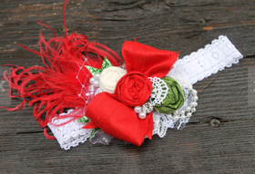 The  Mistletoe Rosette Headband CLEARANCE
