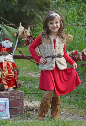 Girls Cheetah Lined Fur Belted Vest CLEARANCE