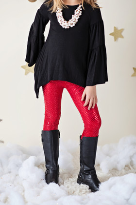 Girls Red Sequin Leggings CLEARANCE