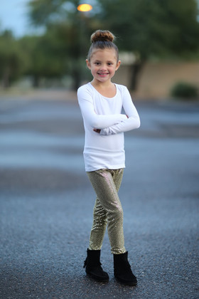 Girls  Sparkle Sequin Legging-Original Gold  CLEARANCE