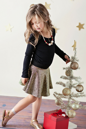 Girls Dance Gold Sequin Skirt CLEARANCE